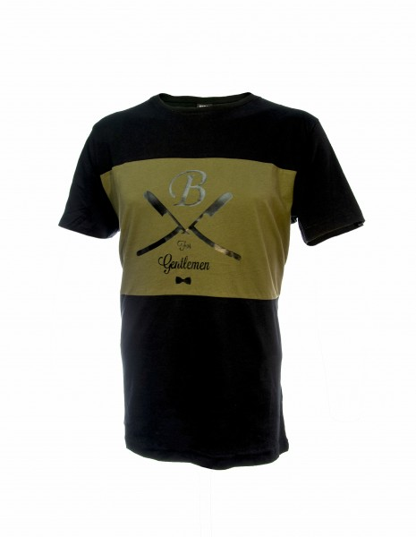 T-Shirt schwarz-oliv, Gentlemen